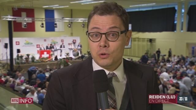 Assemblée extraordinaire de l'UDC: le point avec Pierre Nebel [RTS]