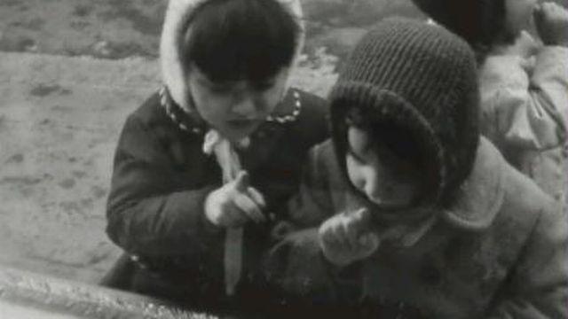 Enfants devant une vitrine de Noël. [TSR 1967]
