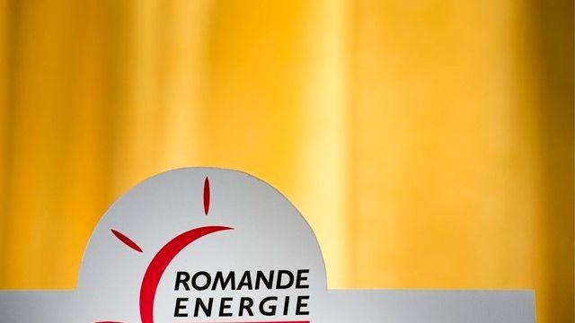 Le logo de Romande énergie. [Laurent Gillieron - Keystone]