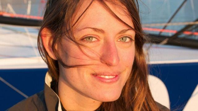 Portrait de Justine Mettraux lors du baptême de son bateau TeamWork 824 en 2011. [Stephanie Gaspari - TeamWork]