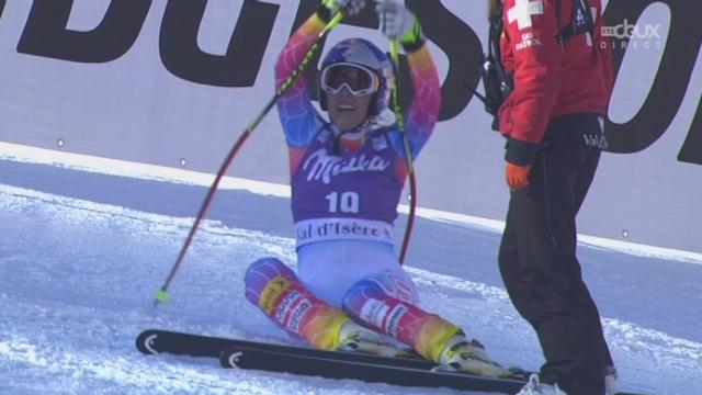 Descente dames, Lindsey Vonn (USA- dossard 19) frise la chute et se blesse légèrement [RTS]