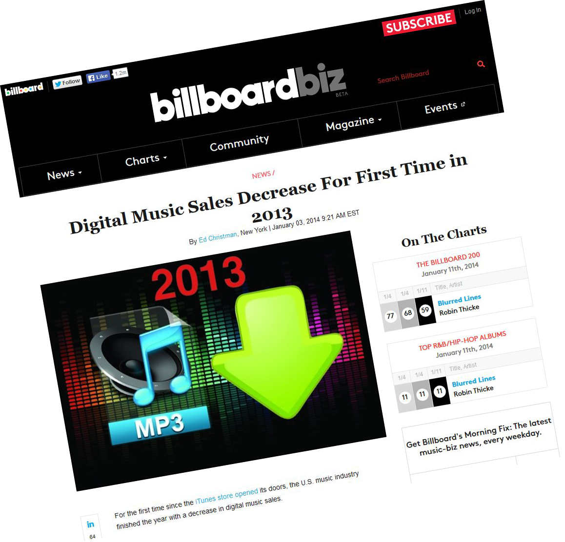 "Billboard: ""Digital Music Sales Decrease For First Time in 2013"""