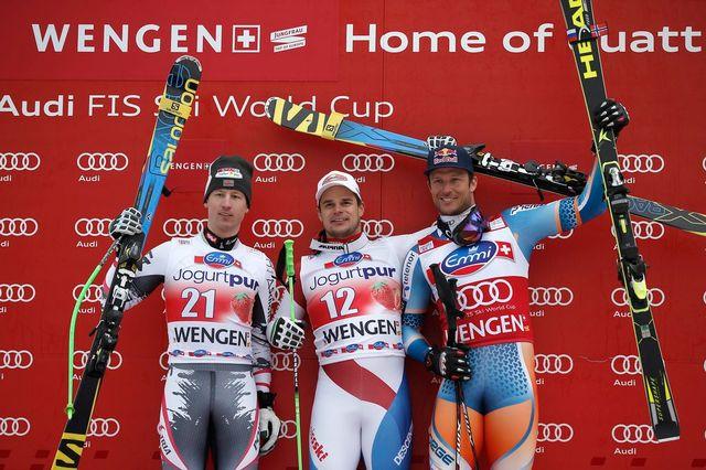 Patrick Küng devient le 10e Suisse à s'imposer sur la mythique piste du Lauberhorn. [Jean-Christophe Bott - Keystone]