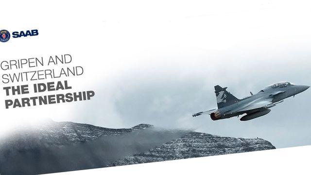 Saab a fait la promotion du Gripen en marge des courses de Wengen. [Saab]