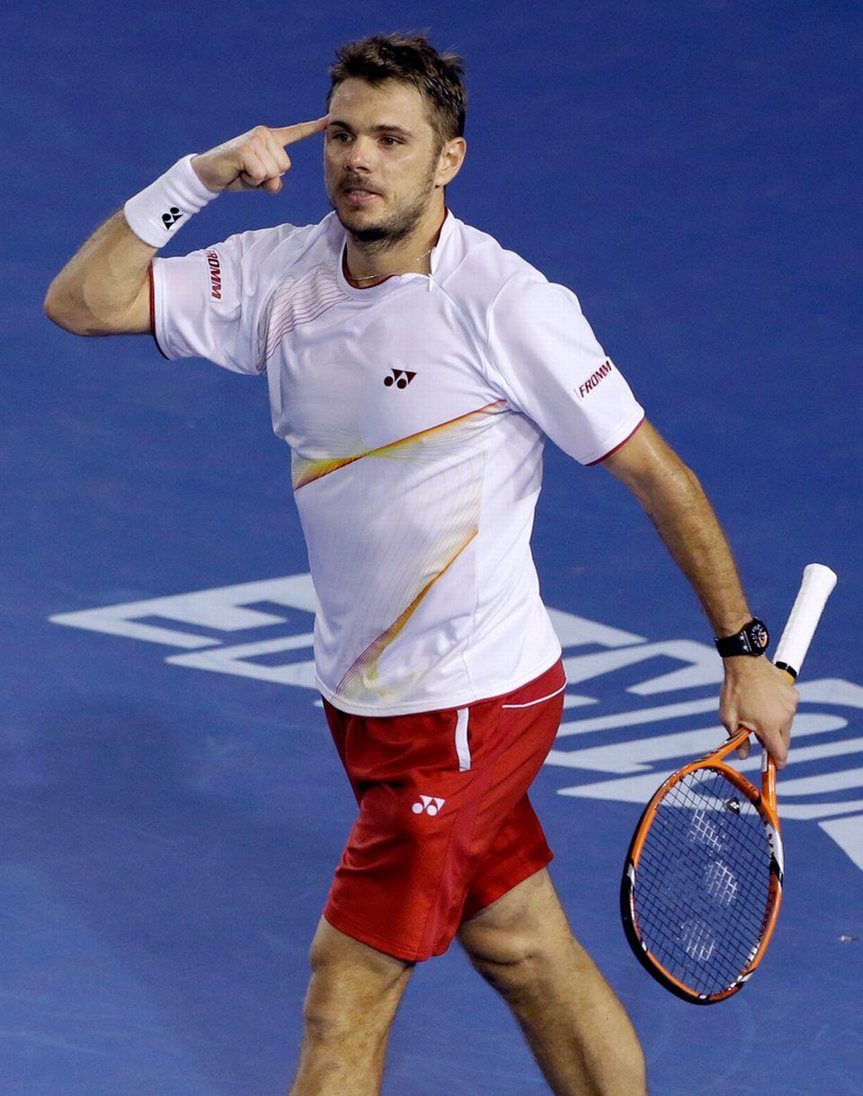 """L'enjeu du match, 630'000 fr. & 480 pts ATP de plus pour le finaliste, n'a pas inhibé """"Stan"""". [Aijaz Rahi - Keystone]"""