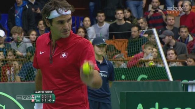 SUI-SRB, Federer - Bozoljac ( 6-4, 7-5, 6-2): Roger Federer marque le 1e point de ce huitième de finale [RTS]