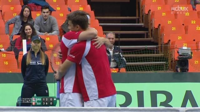 SUI-SRB, Chuidinelli-Lammer - krajinovic-Zimonjic (7-6, 3-6, 7-6, 6-2): la paire suisse marque le 3e point qualificatif pour les quarts! [RTS]