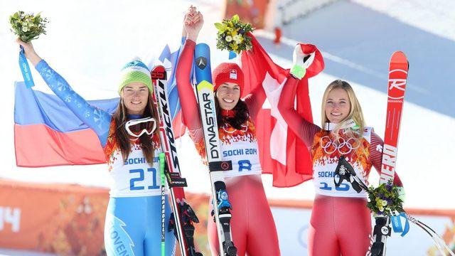 Maze, Gisin et Gut: le podium de la descente olympique a fière allure! [Antonio Bat - Keystone]