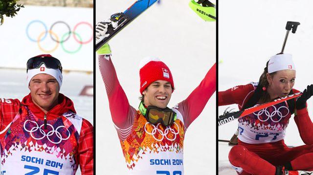 Un 14 février historique pour la Suisse, grâce à Cologna, Viletta et Selina Gasparin. [Keystone]