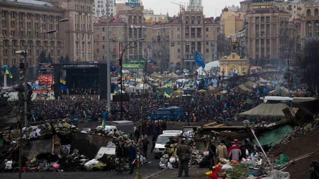 L'opposition demande un texte exigeant la démission de Viktor Ianoukovitch. [Darko Bandic - AP Photo - Keystone]
