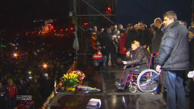 L'arrivée de Ioulia Timochenko sur Maidan à Kiev [RTS]