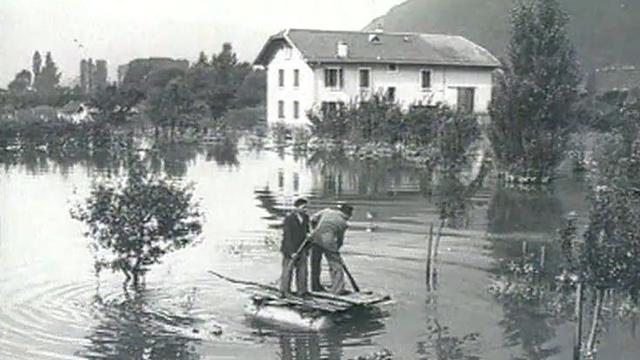 Plaine du Rhône inondée, première partie du 20e siècle [Centre valaisan de l'image et du son ]