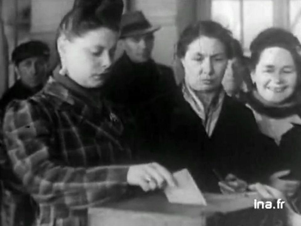 Retour aux urnes : élections municipales du 29 avril 1945. [INA]