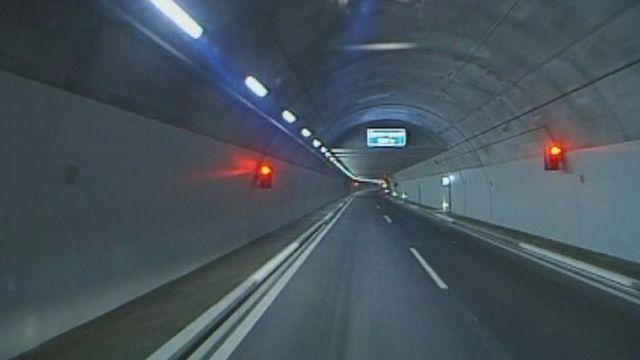 Le tunnel de contournement de Sierre en 1999. [RTS]