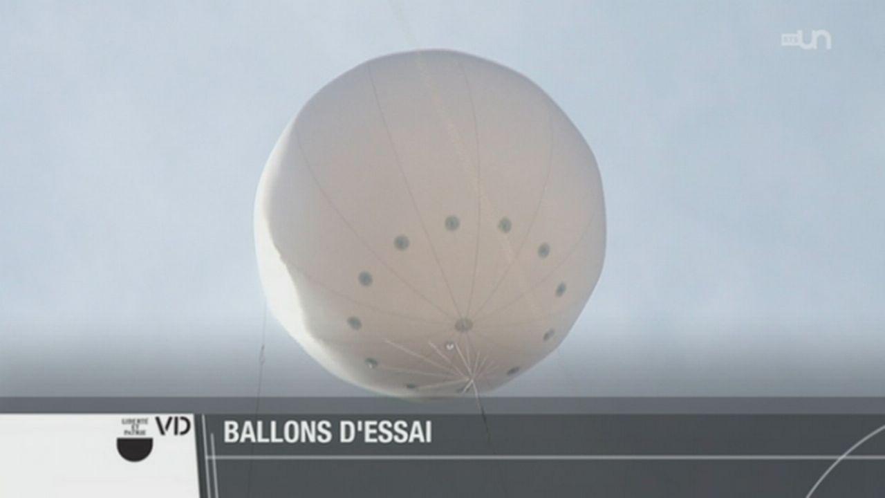 Quatre ballons placés à 86 mètres du sol laissent imaginer la tour Taoua à Beaulieu (VD) [RTS]