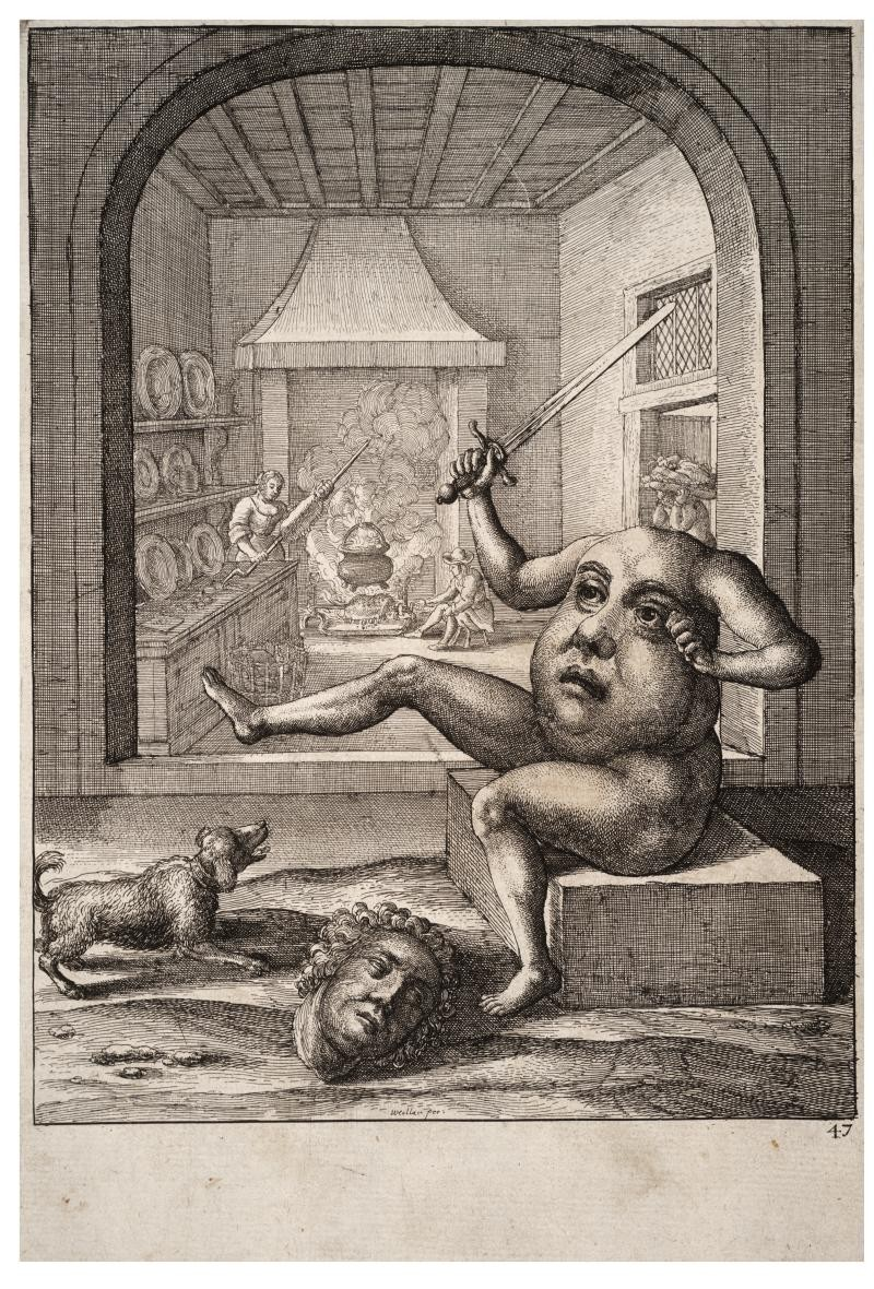 "Gravure de Wenceslas Hollar ""The Members and the Belly""."