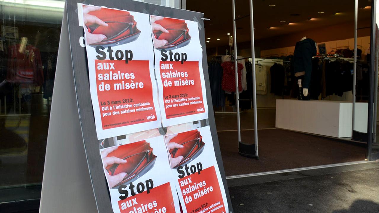 Salaires de misère, campagne pour la votation cantonale jurassienne du 03.03.2013. [Gaël Klein - RTS]