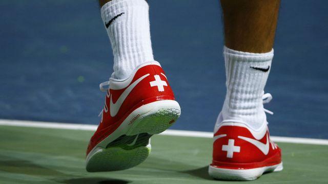 Federer: patriotique jusque au pied! [Denis Balibouse - Reuters]