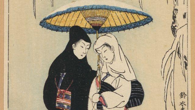 Couple sous un parapluie dans la neige. [Wikimedia commons.]