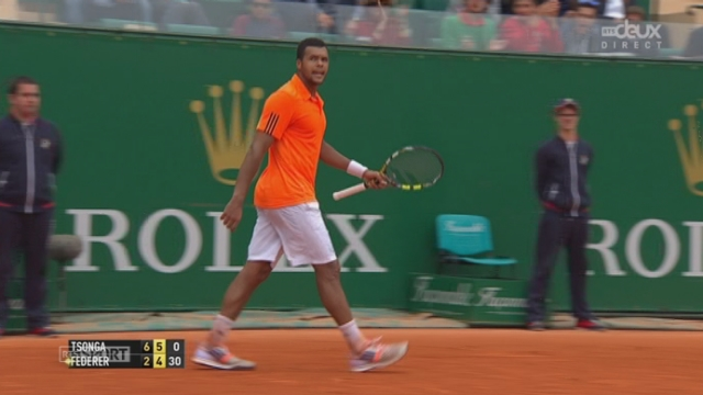 1-4, Tsonga - Federer (6-2, 5-4): Tsonga nous offre le plus beau coup du match avec un passing gagant de grande classe [RTS]