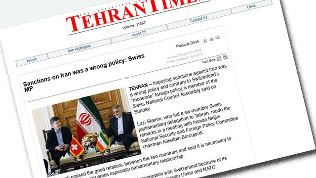 """Luzi Stamm en photo dans le """"Tehran Times"""" du 20 avril."""