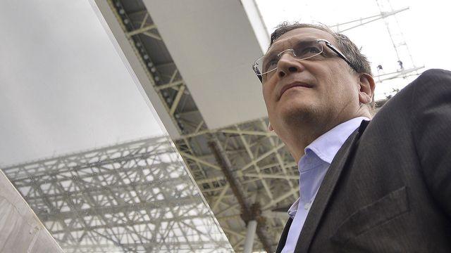 Jérôme Valcke en visite à l'Arena Corinthians, à Sao Paulo, le 22 avril. [Mauro Horita - AGIF/AFP]