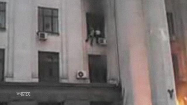 Nouvelles images de l'incendie criminel à Odessa [RTS]