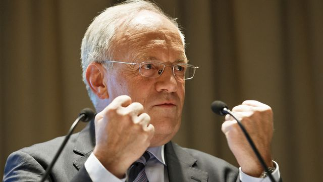 Johann Schneider-Ammann lors d'une conférence à Genève en avril dernier. [Keystone]