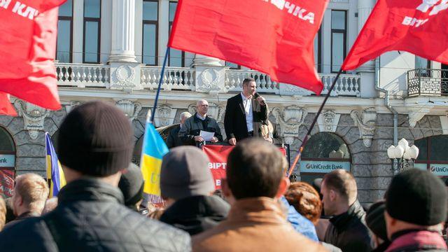 Le leader de l'Alliance Démocratique, Vitali Klitschko, à Kharkiv en mars dernier. [AFP]