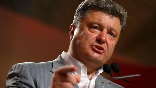 Petro Porochenko lors d'un discours lundi. [David Mdzinarishvili - Reuters]