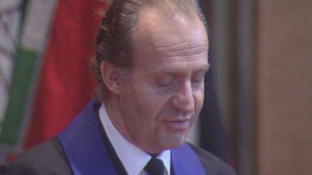 Le roi d'Espagne Juan Carlos honoré par l'université de Fribourg en 1993. [RTS]