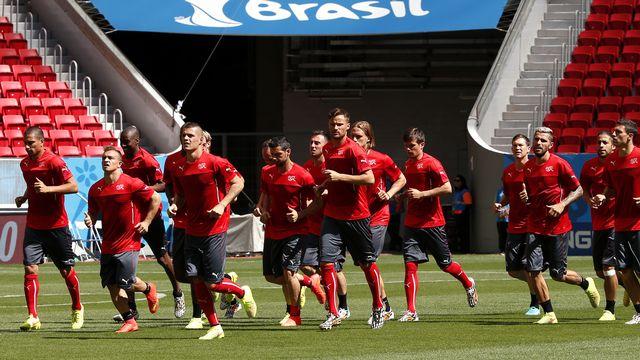 La sélection suisse a pris contact avec la pelouse de Brasilia samedi. [David Gray - Reuters]
