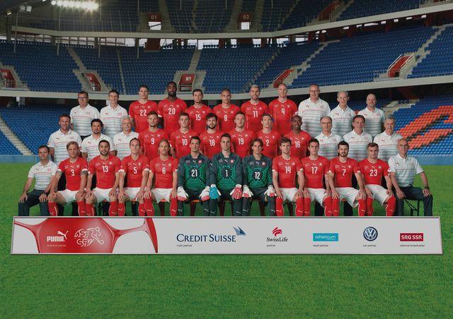 L'équipe suisse rencontre l'équipe de l'Equateur dimanche 15 juin 2014.  [Gaetan Bally/Christian Beutler - Keystone]