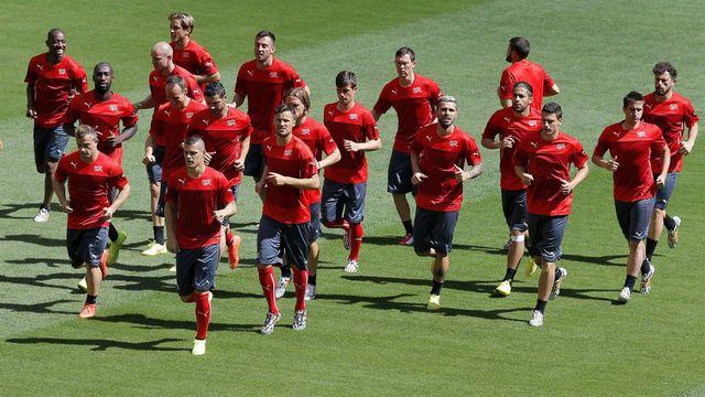 L'équipe de Suisse de football à l'entrainement lors de la Coupe du monde 2014 au Brésil. Robert Ghement Keystone [Robert Ghement - Keystone]