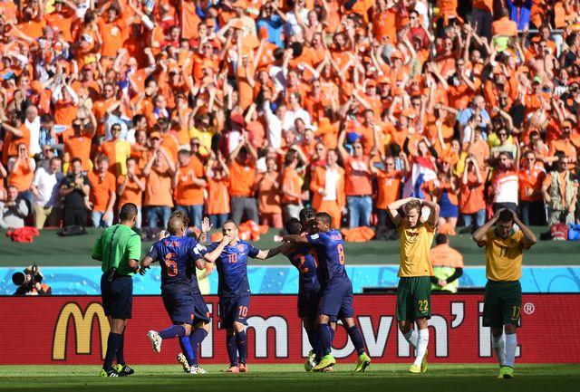 Superbe match entre Néerlandais et Australiens. Ces derniers finiront par s'incliner... [William West - AFP]
