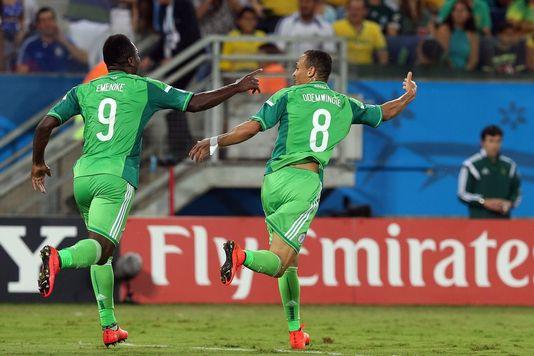 Odemwingie célèbre le premier but du Nigeria dans cette Coupe du monde. [Jose Coelho - Keystone]