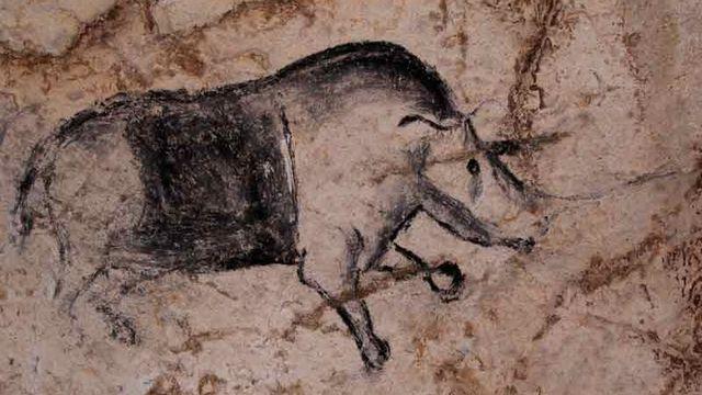 La Grotte Chauvet ou Grotte ornée du Pont d'Arc, en Ardèche, est connue pour abriter les plus anciennes peintures connues à ce jour, entre 30'000 et 32'000 avant J.C. Cette grotte, qui contient quelque 1000 peintures aux motifs  anthropomorphes ou animaliers, a été fermée par un éboulement il y a 20'000 ans et elle est restée scellée jusqu'à sa redécouverte en 1994, ce qui a permis de la conserver de façon exceptionnelle. [© SRA DRACRA, Rhinocéros]
