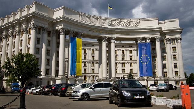 L'Ukraine veut se tourner résolument vers l'Europe (ici, le ministère des Affaires étrangères à Kiev). [Sergii Kharchenko/NurPhoto - AFP]