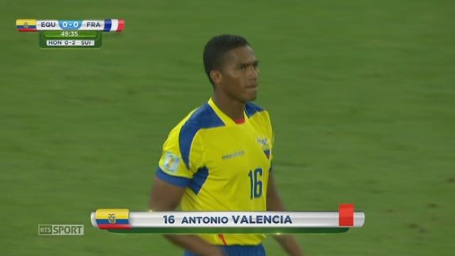 Groupe E, ECU-FRA (0-0): le joueur de Mancherster United Antonio Valencia reçoit un carton rouge et est exclu du terrain [RTS]