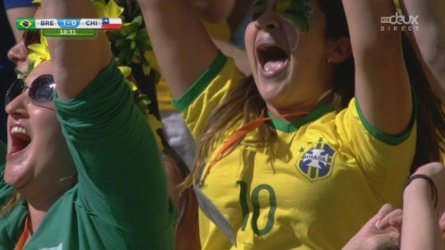 1-8, BRA-CHI (1-0): David Luiz ouvre le score pour le Brésil en reprenant un corner de Neymar [RTS]
