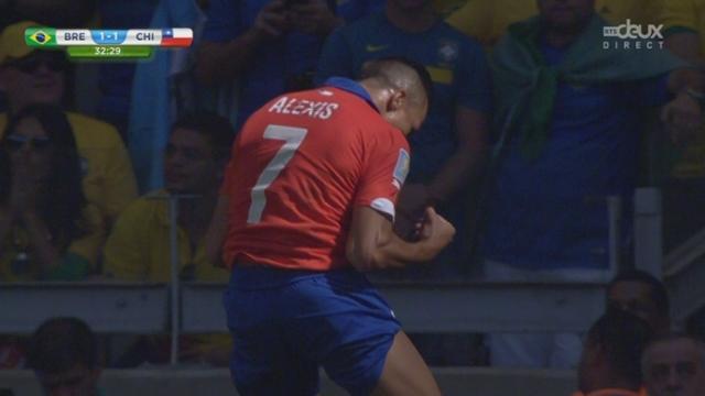 1-8, BRA-CHI (1-1): Alexis Sanchez profite d'une erreur défensive et remet les deux équipes à égalité [RTS]