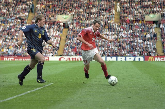 Christophe Bonvin jouant pour l'équipe de Suisse en 1996. [Str - Keystone]