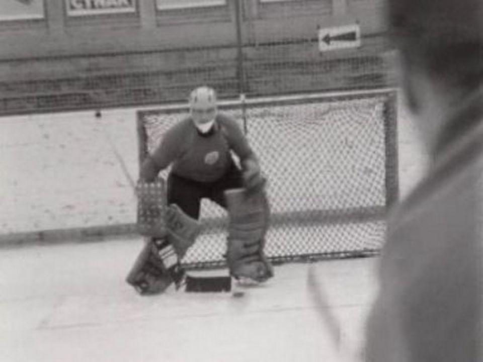 Gérald Rigolet, gardien du but du Hockey Club de la Chaux-de-Fonds, 1966. [RTS]