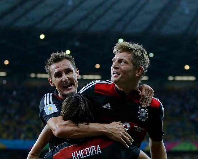 Klose, Kroos, Khedira, les trois Allemands ont mis à genoux le Brésil. [Robert Ghement - Keystone]