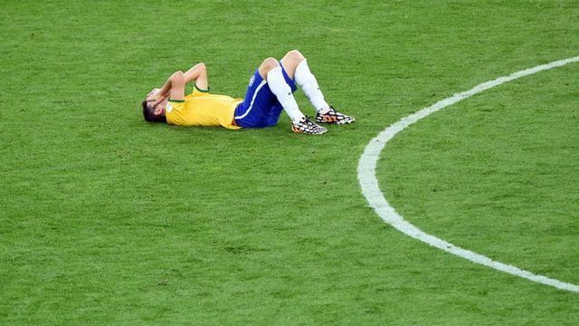 Oscar est en larmes et tout le Brésil avec lui au lendemain de l'humiliation vécue face à l'Allemagne. [Andreas Gebert - Keystone]