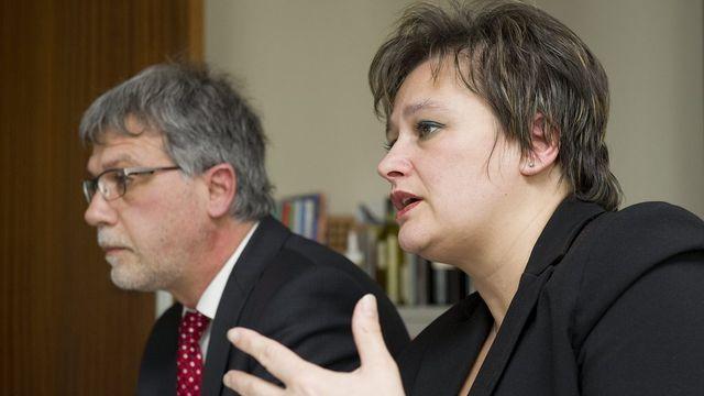 Marylene Volpi Fournier, présidente de la FMEP et Michel Perruchoud, secrétaire général. [Jean-Christophe Bott - Keystone]