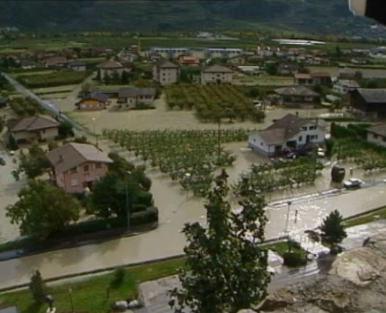 Saillon inondé en 2000.