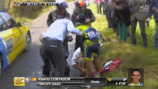 10e étape, Mulhouse-La Planche Des Belles Filles: une très mauvaise chute pour Alberto Contador... Il peut repartir mais il souffre [RTS]