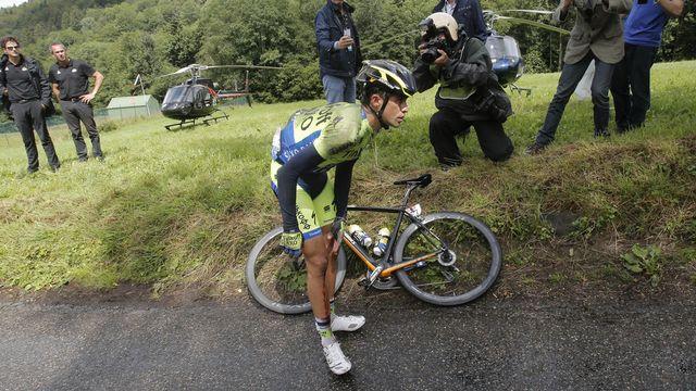 Blessé au genou, Contador n'ira pas plus loin sur cette Grande Boucle 2014. [Christophe Ena - Keystone]