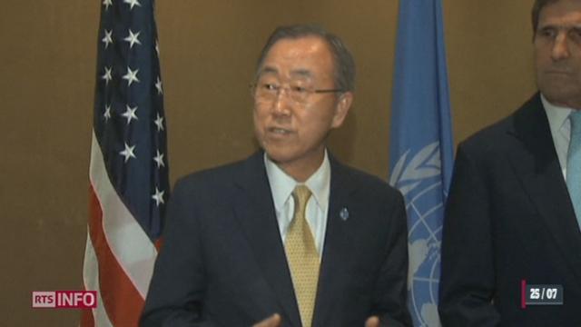 Le secrétaire général Ban Ki-Moon réagit suite au bombardement d'une école gérée par l'ONU à Gaza [RTS]